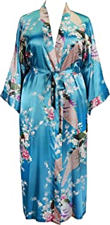Applesauce 838 - Plus Size Women's Kimono Long Robe - Peacock and Blossom (US One-Size fits most 1X 2X 3X)