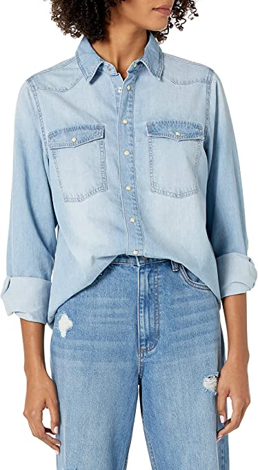 The Drop Women's Kathryn Long Sleeve Western Snap Front Denim Shirt