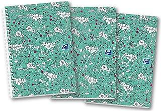Oxford Floral - Cuaderno (A5, tapa dura, con espiral, 140 páginas, 3 unidades)