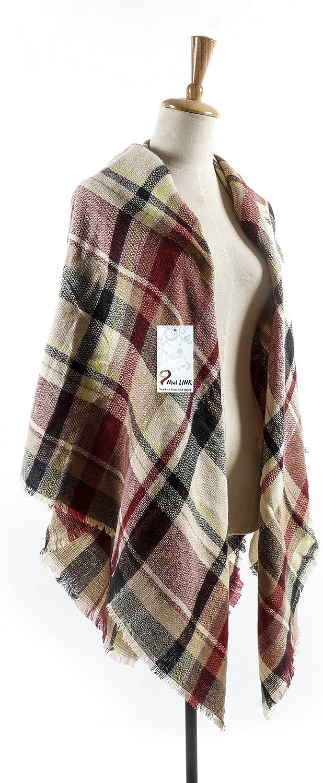 Large Cape Thick Stole Pashmina Scarves Shawl Style Tartan Wrap Scarf