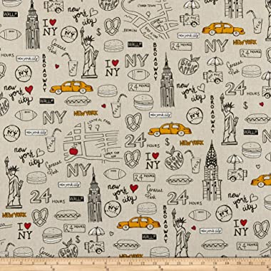 ArtCo Prints Canvas New York Fabric, Beige, Fabric By The Yard