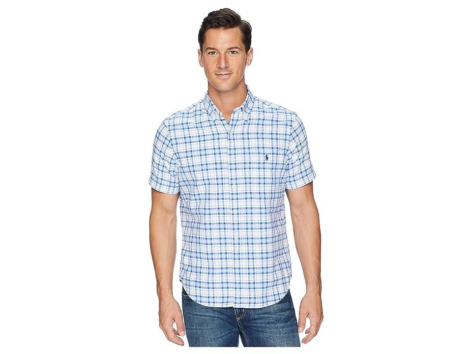 Polo Ralph Lauren Button Down Short Sleeve Sport Shirt (Marian Blue Mutli) Men