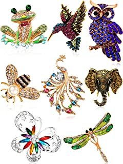 8 Pieces Women Brooch Set Colorful Animal Brooches Insect Crystal Brooch Pin