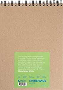 Legion Stonehenge Wired Pad , Cotton Deckle Edge Paper, 9 By 12 Inches, White Paper, 32 Sheets