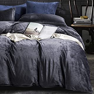 NTBAY Velvet Flannel Duvet Cover Set, 3 Pieces Zippered Comforter Cover Set, Queen, Charcoal Grey