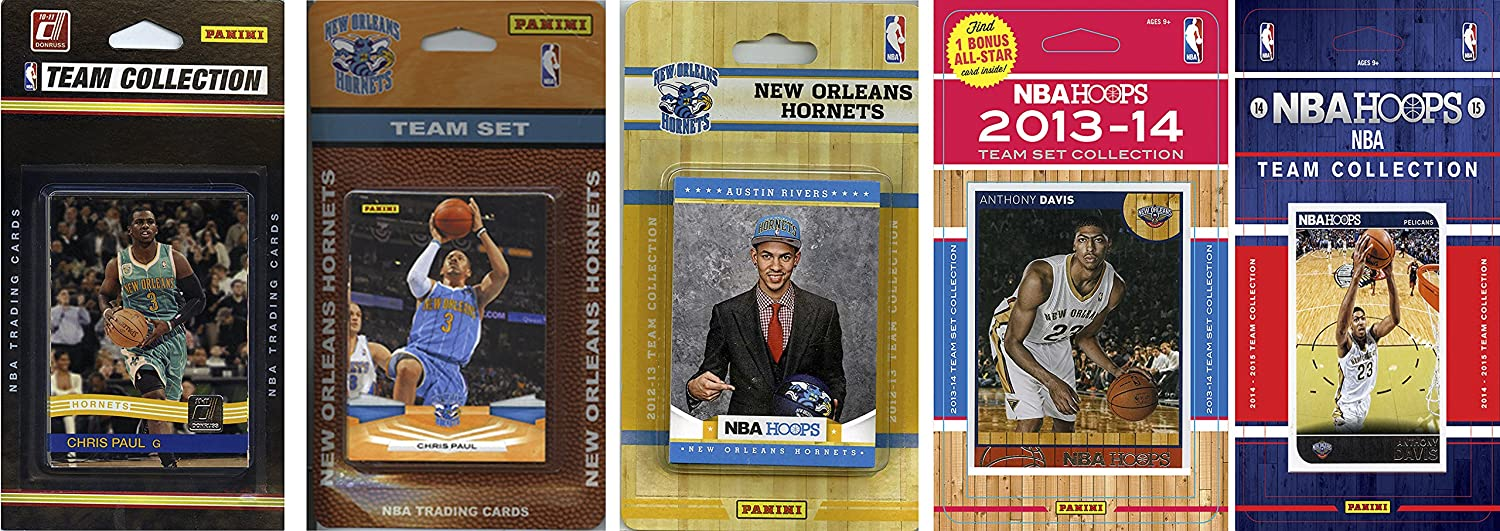 NBA New Orleans Pelicans 5 Different Licensed Trading Card Team Sets, Brown, One Size