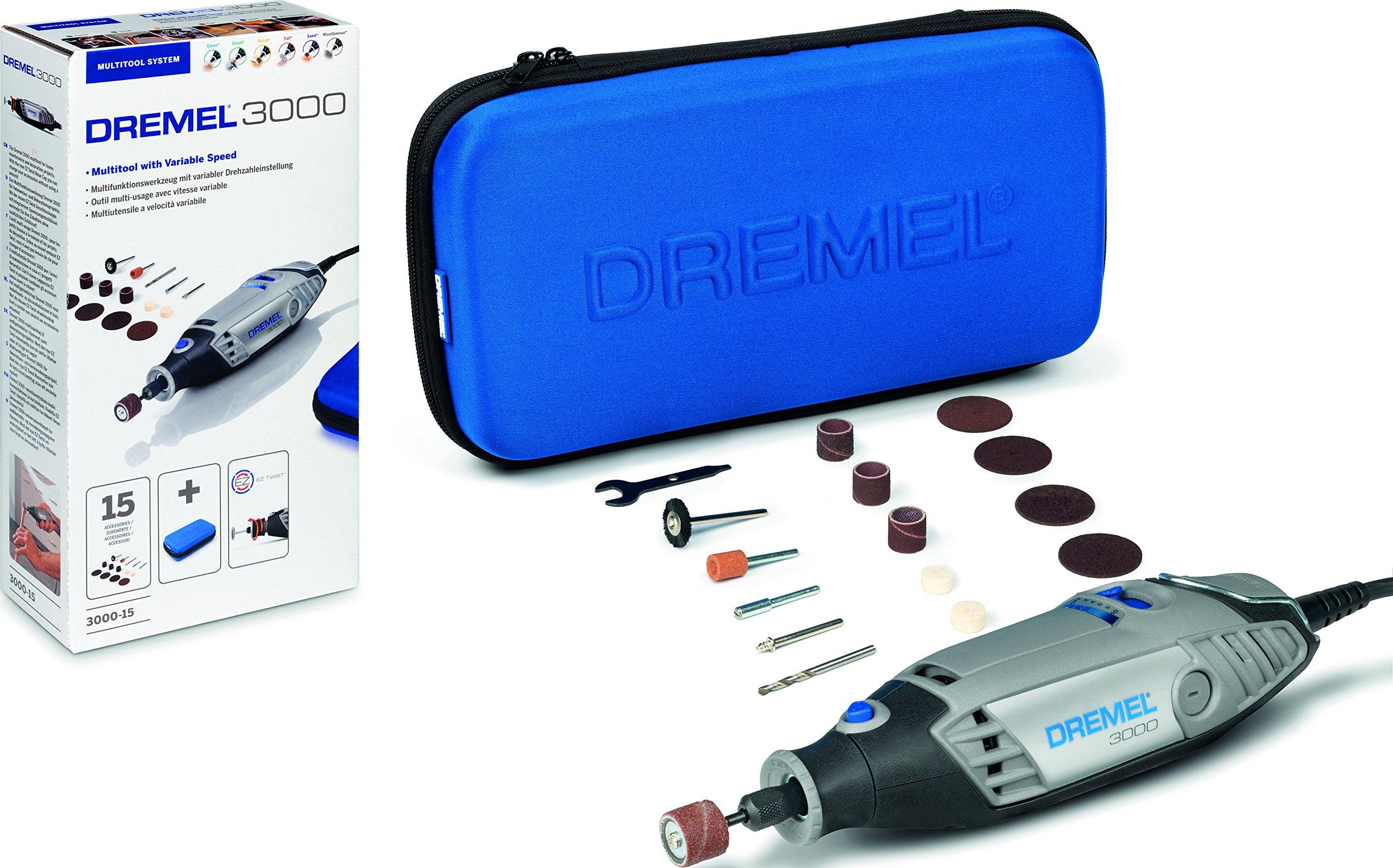 Dremel 3000 - Multiherramienta 130 W, kit con 15 accesorios y estuche, velocidad variable 10.000 - 33.000 rpm para tallar, grabar, fresar, amolar, limpiar, pulir, cortar y lijar: Amazon.es: Bricolaje y herramientas