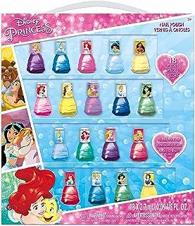 Townley Girl Disney Princesss Kids Washable Super Sparkly Dress Shaped Peel-Off Nail Polish Set for Girls, 18 Colors