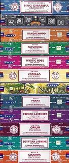 Lot de 12 Nag Champa, Super Hit, Bois de Santal, Patchouli, Mystic Rose, Vanille, Prana, Naturel, Lavande Française, Opiu...