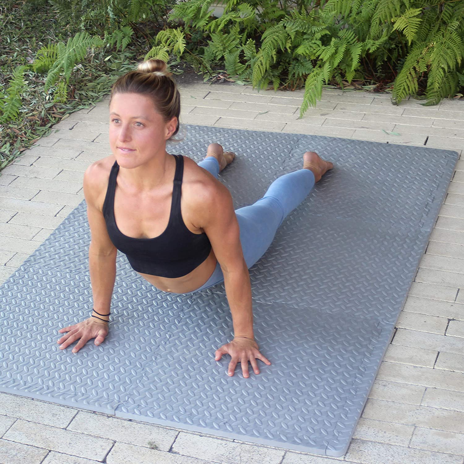 FUN n SAFE Exercise Mat Workspace EVA Interlocking Tiles for Gym and Home Fitness Area Garage