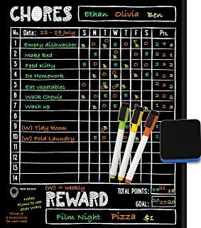 """Magnetic Chore Chart for Kids - Reward Chart for Kids at Home + Liquid Chalk Markers for Blackboard, 11x14"""" Magnetic Dry E..."""