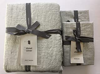 West Elm Belgian Flax Linen Fiber Dyed Duvet Cover Full/Queen & Two Standard Shams ~Frost Gray~