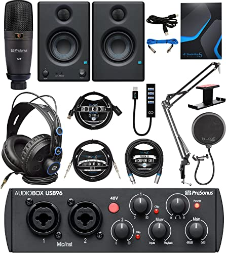PreSonus AudioBox Studio Ultimate Bundle 25th Anniversary Edition with Studio One Artist, Blucoil Boom Arm plus Pop Filter, 10' XLR & Instrument Cables, USB-A Hub, 3' USB Cable, and Headphone Hook