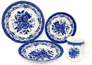 Tudor Royal Collection 16-Piece Premium Quality Round Porcelain Dinnerware Set, Service for 4 - VICTORIA Blue, See 10 Designs Inside!