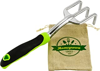 Garden Cultivator & Soil Tiller with Ergonomic Handle; Hand Rake Best for Gardening and Weed Removal; Includes Burlap Sack - Great Gardening Gift