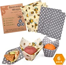 Reusable Beeswax Food Wraps Assorted 6 Pack by Eco Hive, Eco Friendly Food Wraps, Biodegradable, Sustainable Plastic Free Food Storage- Save The Planet Say Goodbye to Plastic