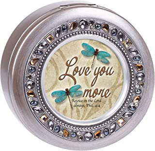 Cottage Garden Love You More Brushed Silvertone Jewelry Music Box Plays Amazing Grace