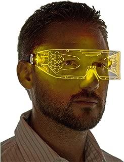 Neon Nightlife LED Light Up Glasses, Cyberpunk Goggles, Rezz Visor Robocop Futuristic Electronic Lights
