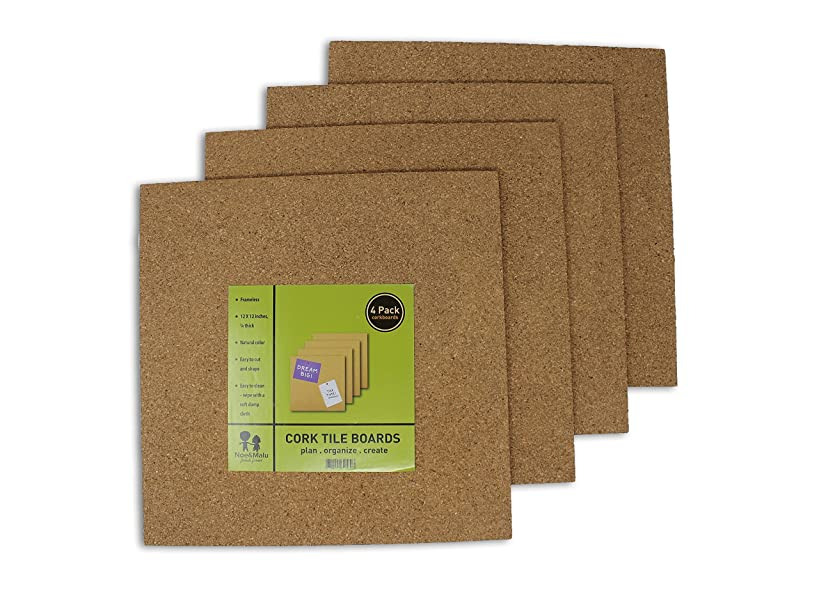 Cork Tile Boards - Office Wall Bulletin Boards - Unframed Strong Self Adhesive - Natural - 4 Pack - 12 x 12 Inches