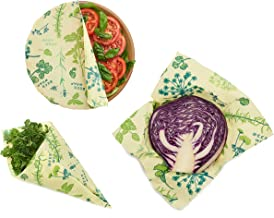 Bee's Wrap Assorted 3 Pack, Vegan Eco-Friendly Reusable Food Wraps, Made in USA, Sustainable, Zero Waste, Plastic Free Alt...
