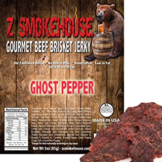 Ghost Pepper Beef Jerky - 100% Handcrafted USA Premium Beef Solid Steak Strips with Real Ghost Pepper - Old Fashion Recipe - Low in Fat