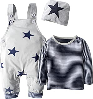 BIG ELEPHANT 3 Pieces Baby Boys' Long Sleeve Shirt Overalls Set with Hat H92