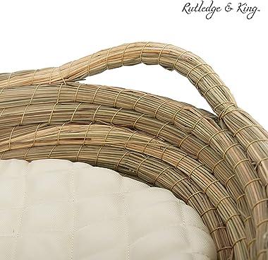 Rutledge & King Baby Changing Basket - Moses Basket Inspired Changing Basket for Baby - Changing Table Topper for Dresser - Baby Changing Table Basket - Woven Changing Basket with Mat (Natural)