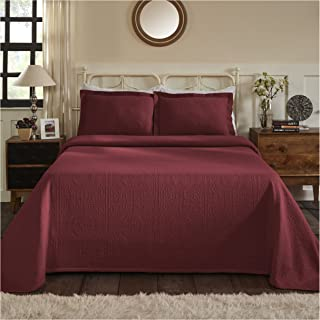 Superior 100% Cotton Medallion Bedspread with Sham, All-Season Premium Cotton Matelassé Jacquard Bedding, Quilted-look Floral Medallion Pattern - Twin, Garnet