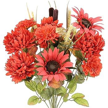 Admired By Nature GPB6405-BRICK RD 2 Piece 18 Stems Home Office/Wedding/Restaurant Decoration Arrangement Artificial Sunflower/Mum/Zinna Mixed Flowers Bush, 6. Brick Red
