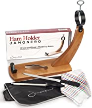 Ham Stand Spain + Knife + Sharpening Steel + Ham Cover + Kitchen Cloth + Tongs - The Original Ham Holder for Spanish Hams and Italian Prosciutto