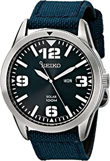 Seiko Men's Blue Dial Blue Nylon Strap Solar Watch
