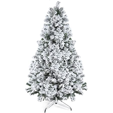Prextex 6 Feet Snow Flocked Christmas Tree - 1200 Tips Premium Artificial Spruce Hinged Christmas Tree with White Heavy Snow Flocking Lightweight and Easy to Assemble with Christmas Tree Metal Stand