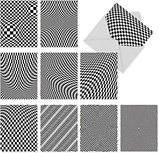 Assorted 'Vertigo' Blank Greeting Cards - 10 Note Cards with Envelopes, Black and White, Dizzying, Checkered All Occasion Cards for Thank You, Birthday, Stationery Notecards 4 x 5.12 inch M2007