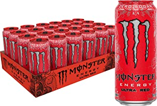 Monster Energy Ultra Red, Sugar Free Energy Drink, 16 Ounce (Pack of 24)