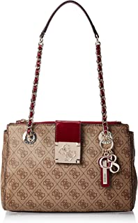 GUESS Women's Logo City Sml Society Satchel, Brown Multi - SP747608