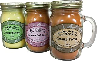 Our Own Candle Company Our Own Caramel Pecan, Coconut Banana-Grab Nuts Variety Scented Mason Jar Candles, 13 oz (3 Pack)