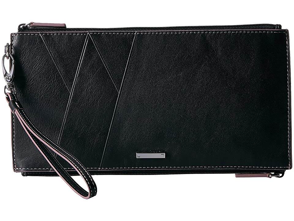 Lodis Accessories Mill Valley Under Lock Key Kai Double Zip Pouch with Wristlet (Black) Travel Pouch