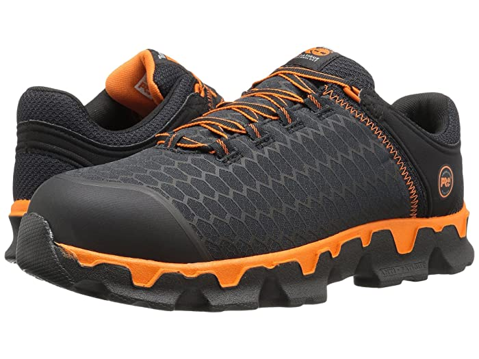 Timberland PRO  Powertrain Alloy Toe (Black Synthetic/Orange) Mens Work Lace-up Boots