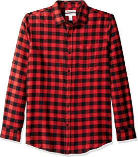 Amazon Essentials Men's Slim-Fit Long-Sleeve Plaid Flannel Shirt