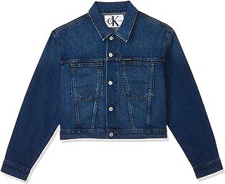 جاكيت حريمي جينز قصير، ازرق من كالفن كلاين (لون حجري داكن مميز911)، مقاس M