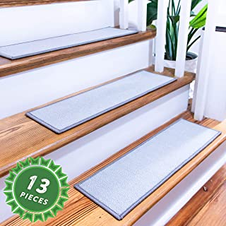 "SafeStair Non-Slip Carpet Stair Treads Indoor with Tape, Pet-Friendly Stair Mats (Set of 13) 26""x8"" in Gray"