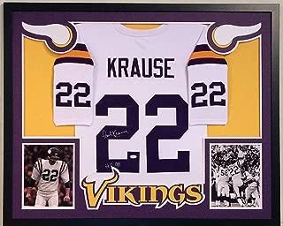 Paul Krause Autographed Custom Framed Minnesota Vikings Jersey HOF 98 JSA COA