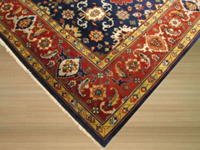 EORC Hand-knotted Wool Navy Traditional Oriental Super Mahal Rug, 3' x 5'