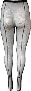 Killer Legs Womens Queen Plus Size Fishnet Pantyhose 168YD022Q, Black, Back Seam with Bow Tie
