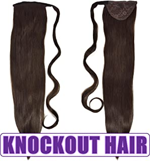 "Human Hair Ponytail Extension Wrap 20"" 100% Real Remy Premium Grade AAAAA 80 Grams Long Straight Human Hair Silky Soft by Knockout Hair (#02 Dark Brown)"