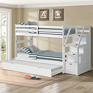Harper&Bright Designs Twin-Over-Twin Trundle Bunk Bed with Storage Drawers (White)