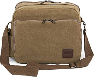 DAHSHA Canvas Multi Pocket Sling Cross Body Travel Office Business Messenger one Side Shoulder Bag with Padded Compartment...