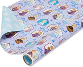 American Greetings Reversible Christmas Wrapping Paper, Disney Frozen (1 Pack, 75 sq. ft.)