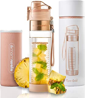 MAMI WATA Fruit Infuser Water Bottle – Beautiful Gift Box – Unique Stylish Design - Free Fruit Infused Water Recipes eBook and Insulating Sleeve – 24oz