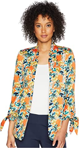 Printed Satin Tie Sleeve Jacket